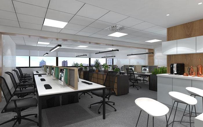 新中式办公楼办公区装修设计效果图