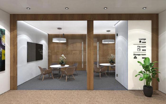 新中式办公楼洽谈区装修设计效果图