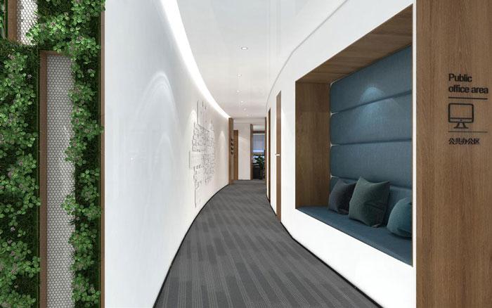 新中式办公楼过道装修设计效果图