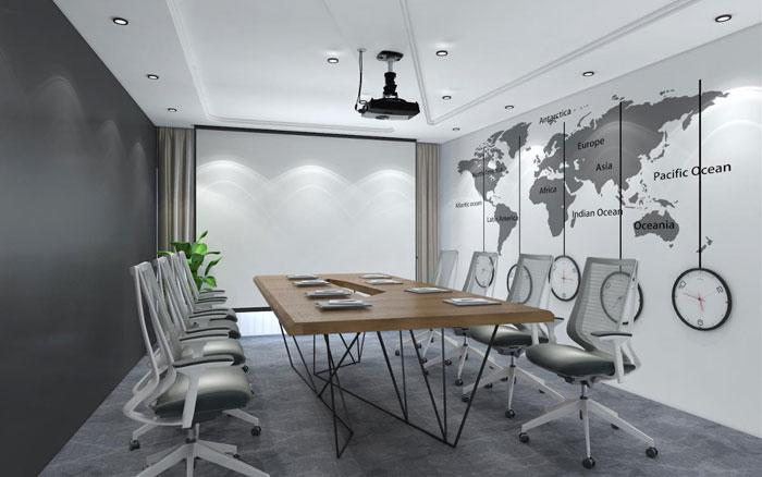 新中式办公楼会议室装修设计效果图