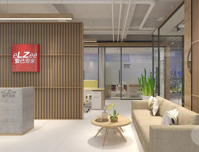 日式办公室前台接待装修设计效果图