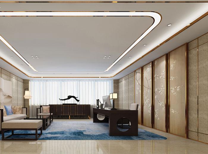 新中式总经理办公室设计方案效果图