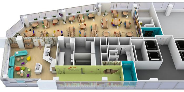 食品公司办公室装修设计平面图