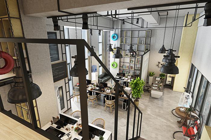 loft工业风办公室装修设计效果图图片