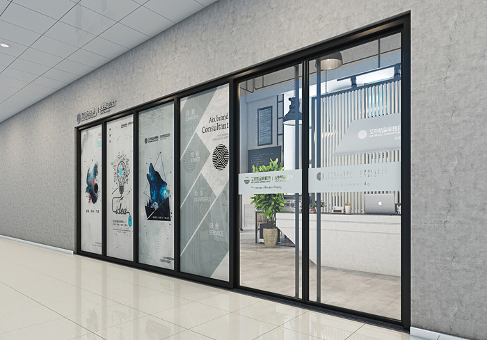 loft工业风办公室入口装修设计效果图