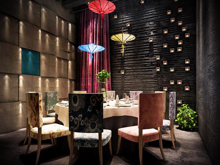 本次为油纸伞主题餐厅装修设计效果图,餐厅设计面积740平方,设计师在餐厅设计中,以油纸伞、历史元素、地域元素为办公室设计关键词,目的就是希望将一切串联起来,汇成一个故事。   油纸伞主题餐厅进门区