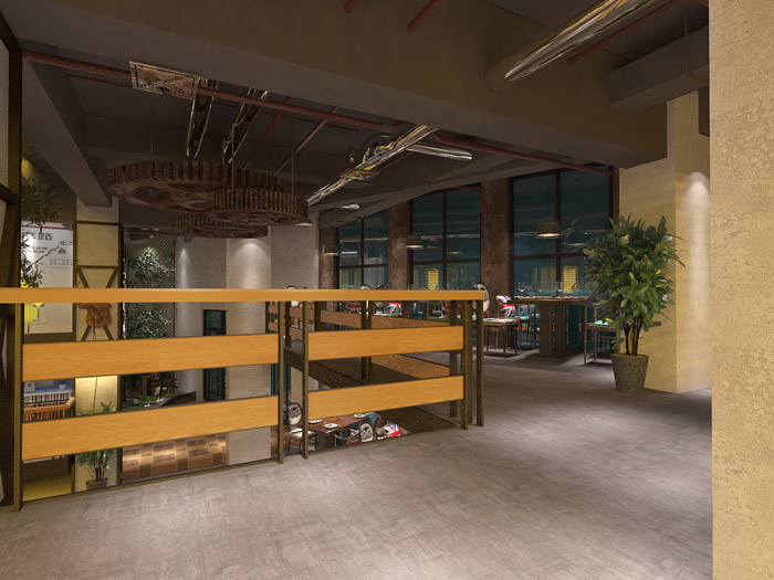 loft主题餐厅装修设计效果图_岚禾工装设计