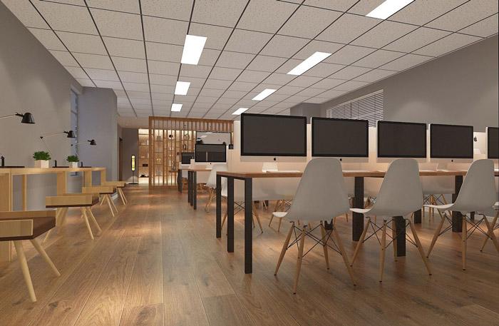正文    本次为教育培训办公空间装修设计效果图,设计师在办公室