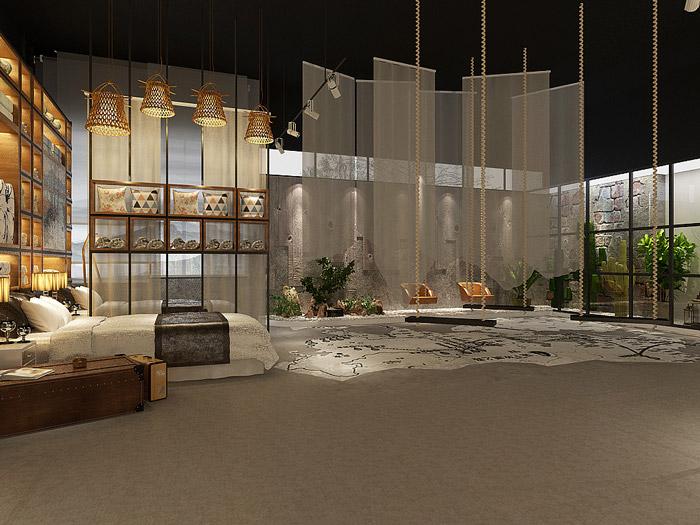 丝绸厂房展厅展示区装修设计效果图