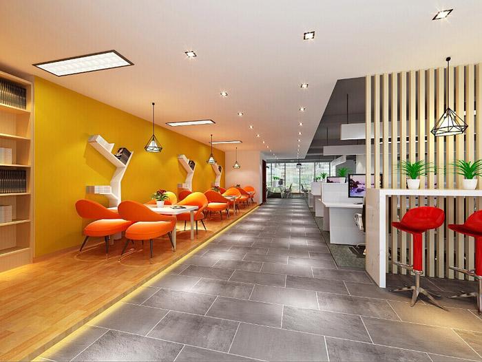 电商科技公司办公室交流区装修设计效果图