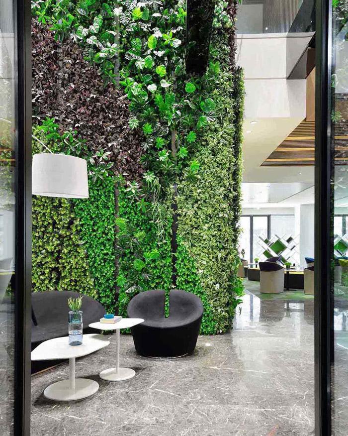 绿色办公室过道装修设计效果图