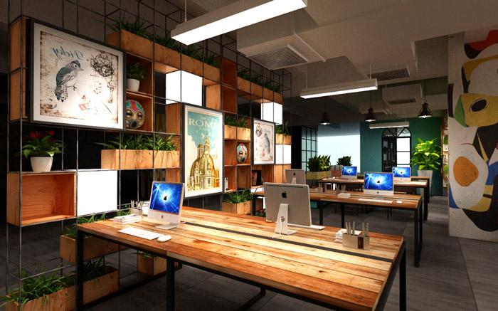 开放式办公室装修设计效果图