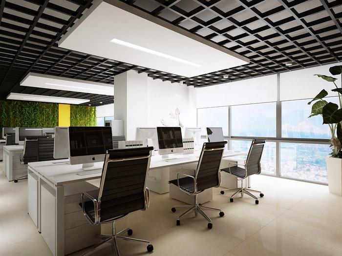 開放式辦公室裝修效果圖_嵐禾工裝設計