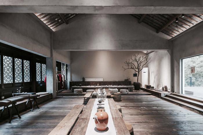 中式古典辦公室裝修設計效果圖,辦公室設計面積1000平方,這是一座建筑