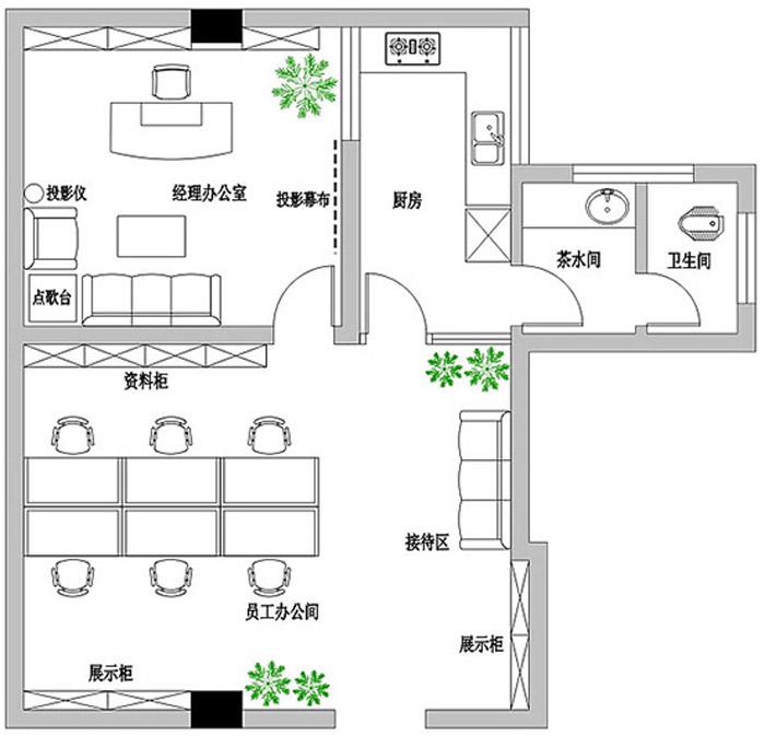 小型辦公室設計布局圖