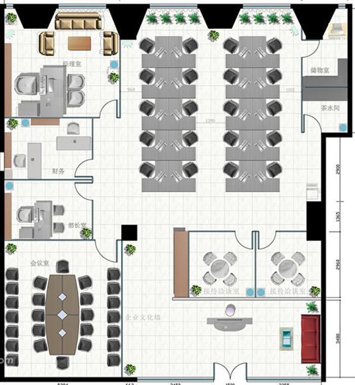 小型办公室设计布局图