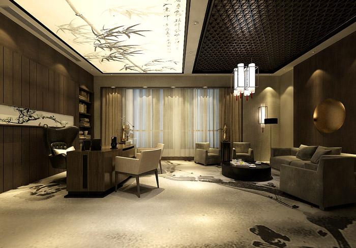 新中式总裁办公室装修设计效果图