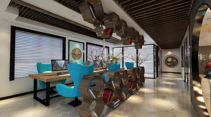 现代中式风格办公室办公区装修效果图