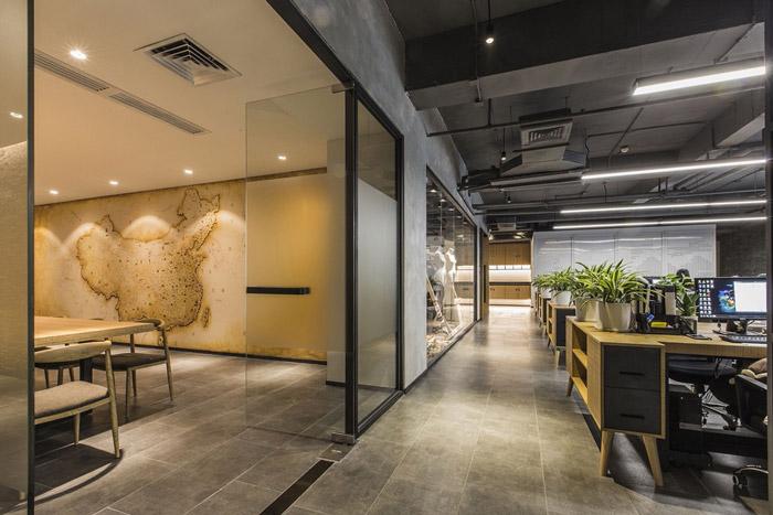 东方禅意办公室办公区装修设计效果图