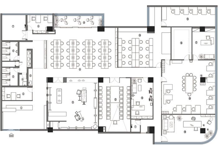 东方禅意办公室装修设计平面图