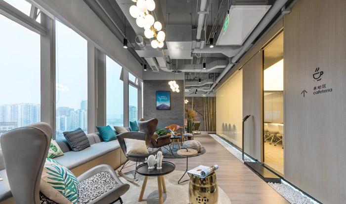 干净清爽办公室接待区装修设计效果图