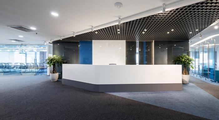 科技类公司办公室前台装修设计效果图