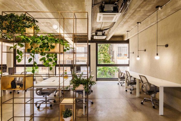 绿色办公室装修效果图_岚禾工装设计