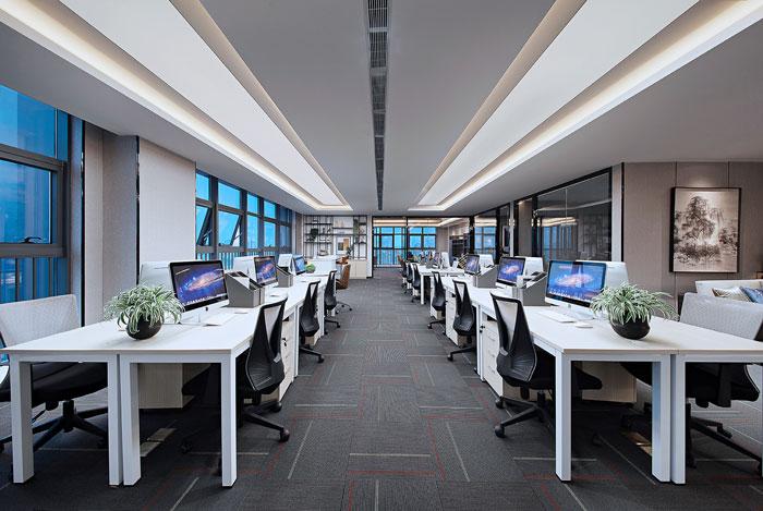 装修设计效果图,设计师在写字楼设计中,以稳重,严谨,简洁为办公室设计