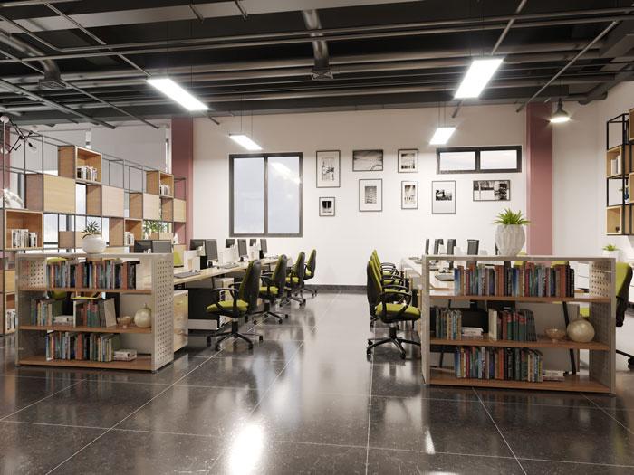 正方形辦公室裝修設計效果圖