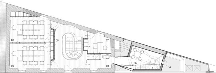 挑高层办公室二层平面图