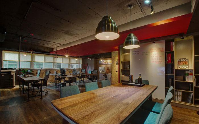复古办公室办公区设计效果图