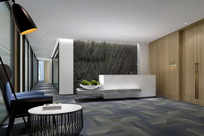 金融公司办公空间前台装修效果图