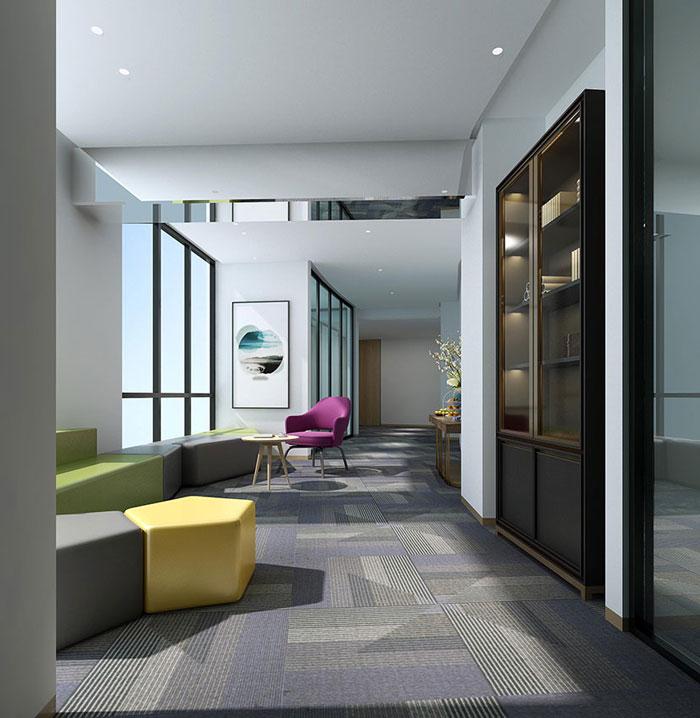 金融公司办公空间过道装修效果图