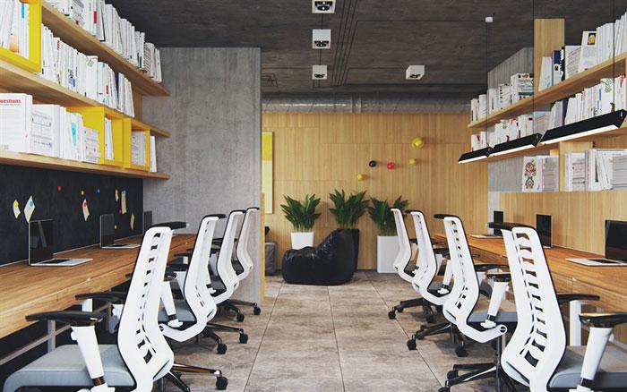 复古办公室办公区装修效果图