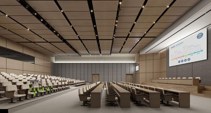 杭州鸿世电器办公楼汇报厅装修设计效果图