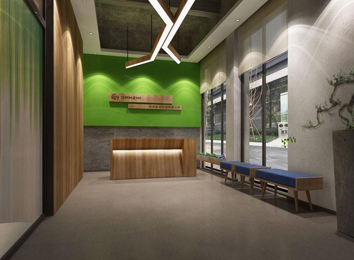 杭州科技公司办公楼前台装修设计效果图