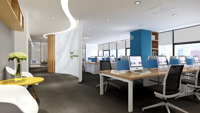 杭州外贸公司办公室进门区装修设计效果图