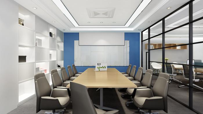 杭州外贸公司办公室会议室装修设计效果图