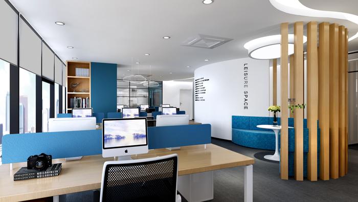 杭州外贸公司办公室办公区装修设计效果图