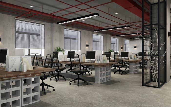 工业风办公室办公区设计效果图