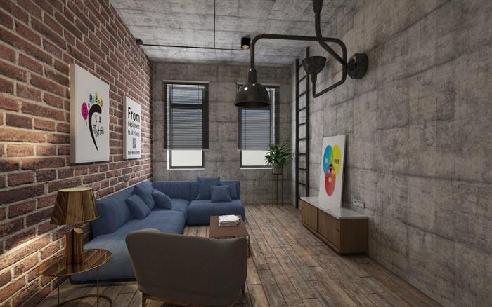 工业风办公室洽谈室设计效果图