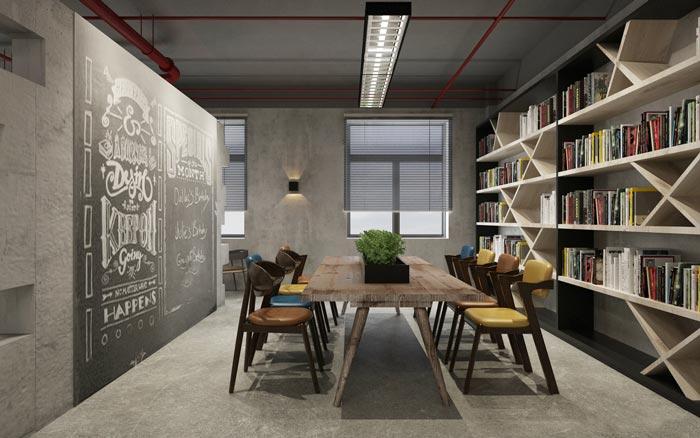 工业风办公室阅读室设计效果图