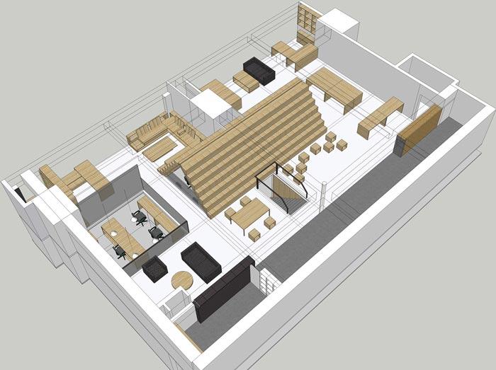 5.4米层高办公室装修设计平面图