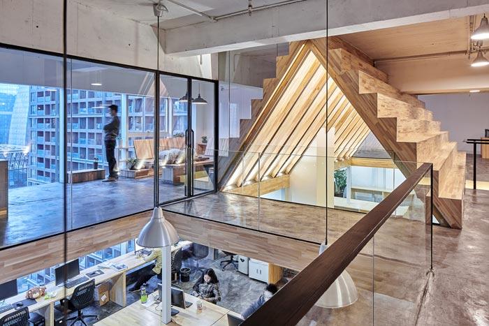 5.4米层高办公室二楼动线装修设计效果图