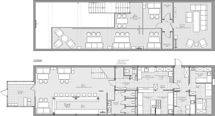 233平方工业风酒吧设计平面图